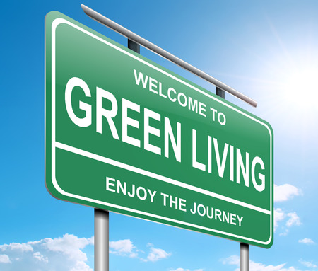 green living: Illustration depicting a sign with a green living concept. Stock Photo