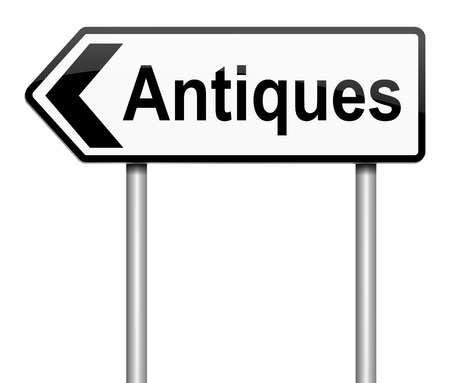 bygone: Illustration depicting a sign with an antiques concept.