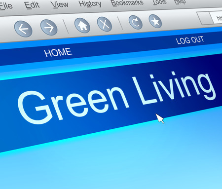 green living: Illustration depicting a computer screen capture with a green living concept.