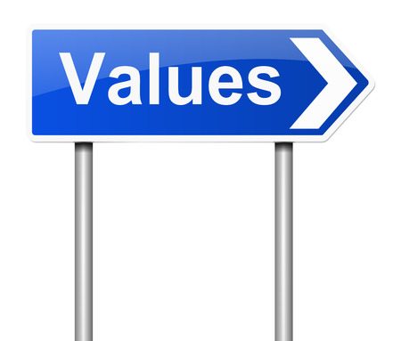 scruples: Illustration depicting a sign with a values concept. Stock Photo