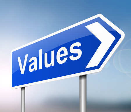 Illustration depicting a sign with a values concept. Stock Photo