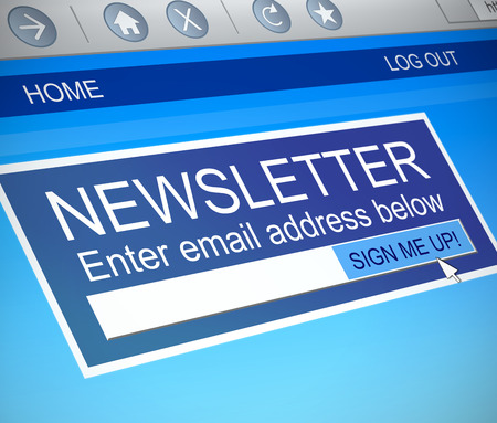 Illustration depicting a computer screen capture with a newsletter concept.