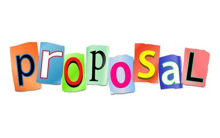 proposition: Illustration depicting a set of cut out printed letters arranged to form the word proposal.