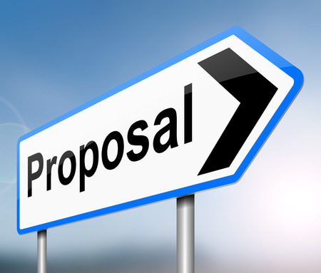 Illustration depicting a sign with a proposal concept. Stock Photo