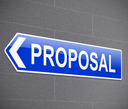 proposition: Illustration depicting a sign with a proposal concept. Stock Photo
