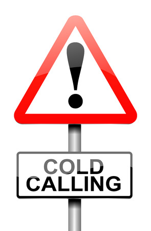 the cold: Illustration depicting a warning sign with a cold calling concept. Stock Photo