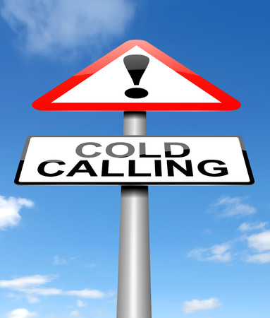 unsolicited: Illustration depicting a warning sign with a cold calling concept. Stock Photo