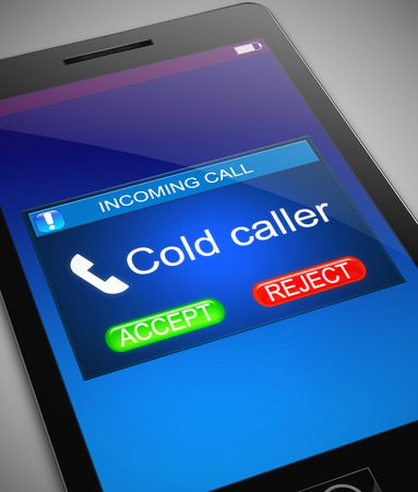 Illustration depicting a phone with a cold caller concept. Archivio Fotografico