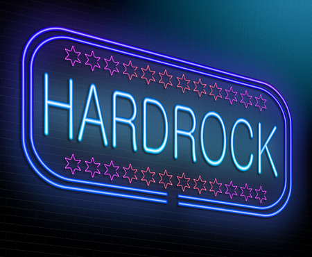 hard rock: Illustration depicting an illuminated neon sign with a hard rock concept.