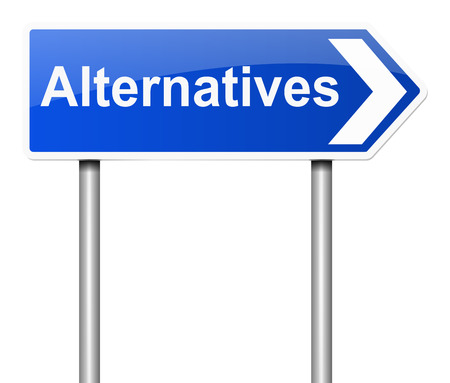 substitution: Illustration depicting a sign with an alternatives concept.