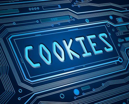 Abstracte stijl illustratie van printplaat componenten met een cookies concept. Stockfoto