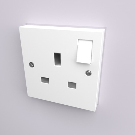 the gang: Illustration depicting a wall mounted electrical plug socket.
