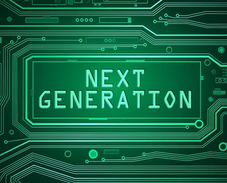 componentes: Ilustración de estilo abstracto que representa componentes de la placa de circuito impreso con un concepto de próxima generación.
