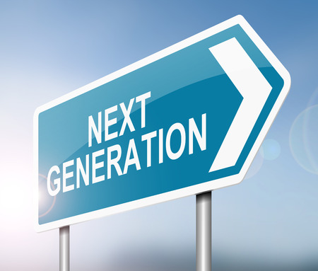 next to: Illustration depicting a sign with a next generation concept. Stock Photo