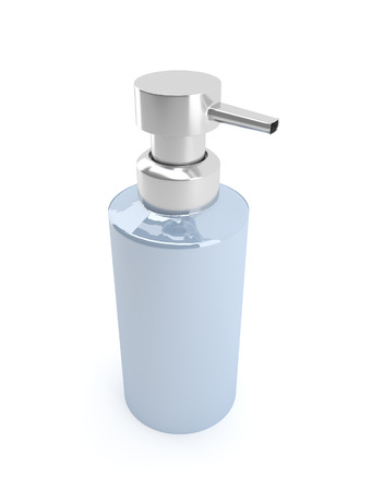 dispensing: Illustration depicting a single soap dispenser over white background.