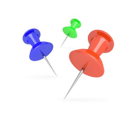 push pins: Illustration depicting three push pins arranged over white.