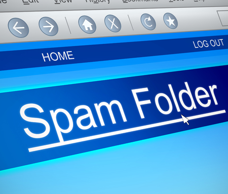 Illustration depicting a computer screen capture with a spam concept. Stock Photo