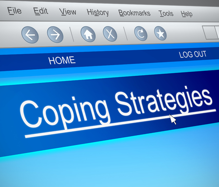coping: Illustration depicting a computer screen capture with a coping strategies concept. Stock Photo