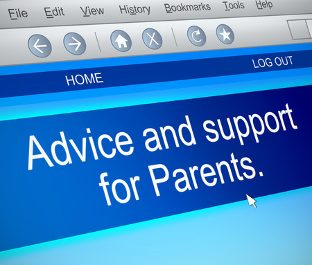 parenting: Illustration depicting a computer screen capture with a parenting concept.