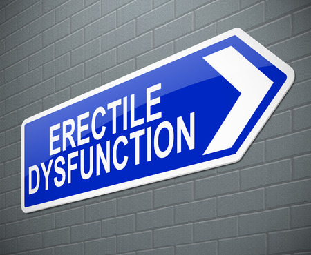 erectile: Illustration depicting a sign with an erectile dysfunction concept.