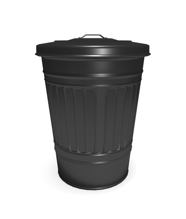 waste 3d: Illustration depicting a black bin arranged over white. Stock Photo