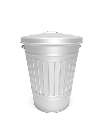 waste basket: Illustration depicting an aluminium bin arranged over white.