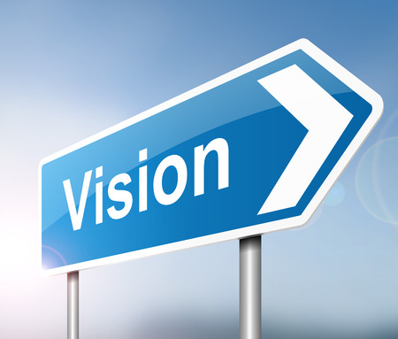 Illustration depicting a sign with a vision concept. Stock Photo