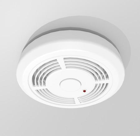 smoke: Illustration depicting a white round smoke detector.