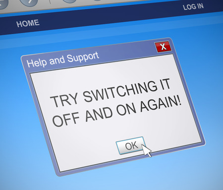 dialog box: Illustration depicting a computer dialog box with a switch it off and on again message concept. Stock Photo