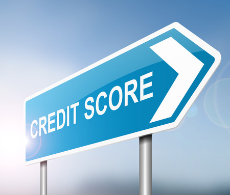 worthy: Illustration depicting a sign with a credit score concept.