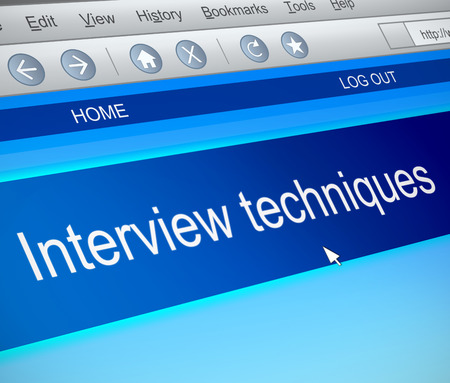 techniques: Illustration depicting a computer screen capture with an interview techniques concept. Stock Photo