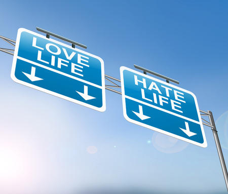 emotional love: Illustration depicting a sign with a love or hate life concept. Stock Photo