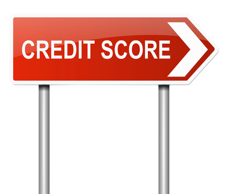 score: Illustration depicting a sign with a credit score concept.