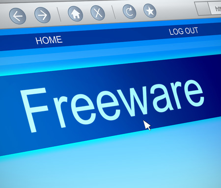 freeware: Illustration depicting a computer screen capture with a freeware concept.