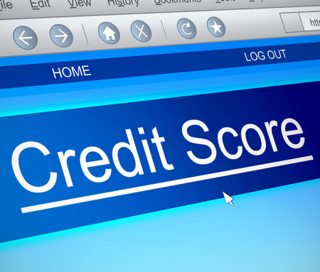worthy: Illustration depicting a computer screen capture with a credit score concept. Stock Photo