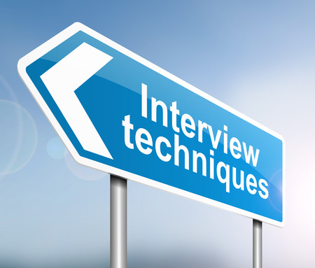 interview: Illustration depicting a sign with an interview concept.