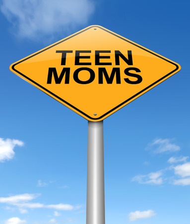 juvenile: Illustration depicting a sign with a teen mom concept.