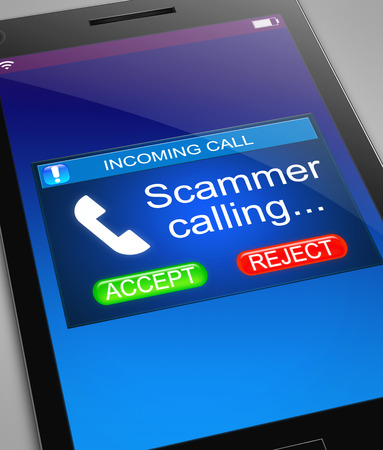 scam: Illustration depicting a phone with a scam call concept.