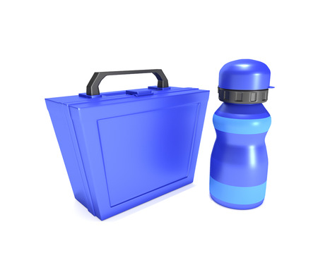 lunch box: Illustration depicting a blue childs lunchbox and flask arranged over white.