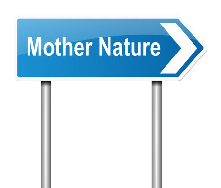 natural forces: Illustration depicting a sign with a mother nature concept. Stock Photo