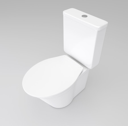 Illustration depicting a white toilet arranged over grey.