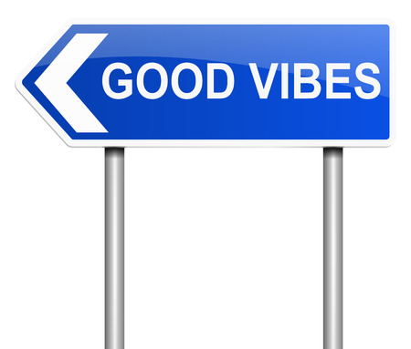 thoughts: Illustration depicting a sign with a good vibes concept.