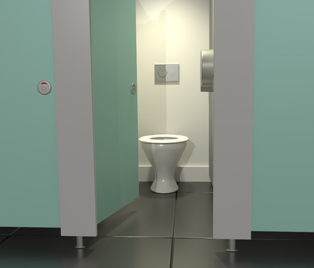 powder room: Illustration depicting public toilet cubicles in a row with one door open. Stock Photo