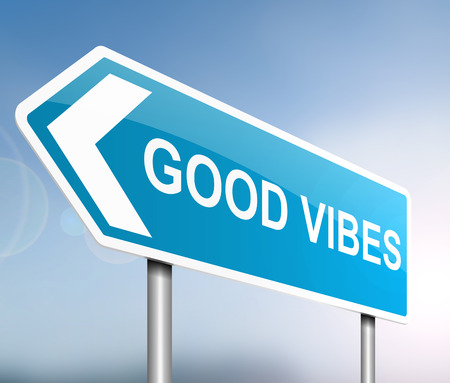high spirits: Illustration depicting a sign with a good vibes concept.