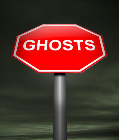 specter: Illustration depicting a sign with a ghost concept.