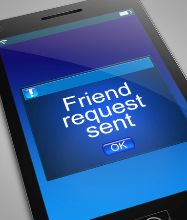 request: Illustration depicting a phone with a friend request concept.