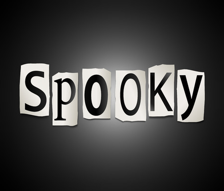 with spooky: Illustration depicting a set of cut out printed letters arranged to form the word spooky. Stock Photo