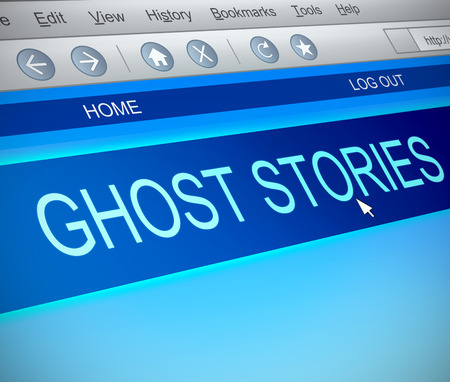 scary story: Illustration depicting a computer screen capture with a ghost stories concept.