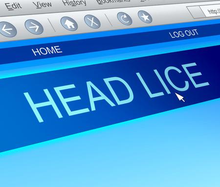 piojos: Ilustraci�n que muestra una captura de pantalla de la computadora con un concepto de piojos de la cabeza. Foto de archivo