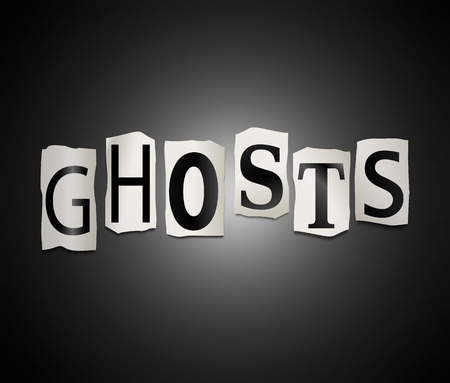 specter: Illustration depicting a set of cut out printed letters arranged to form the word ghosts.